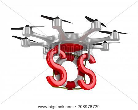 octocopter with lifebuoy on white background. Isolated 3d illustration