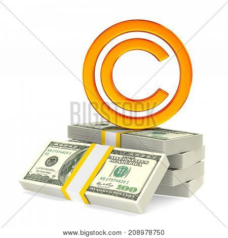 sign copyright on white background. Isolated 3D illustration