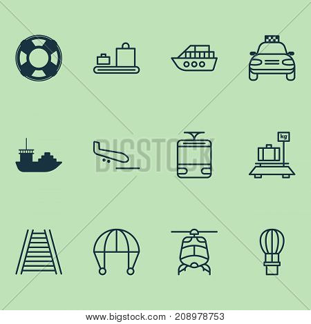 Shipping Icons Set. Collection Of Plane Arrival, Streetcar, Baggage And Other Elements