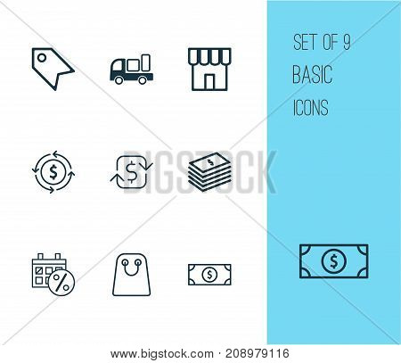 Ecommerce Icons Set. Collection Of Delivery, Recurring Payements, Black Friday And Other Elements