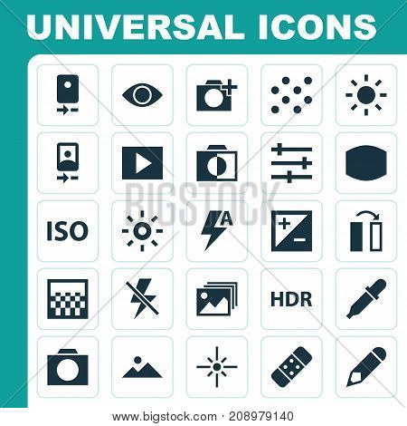 Picture Icons Set. Collection Of Chessboard, Thunder, Pen And Other Elements