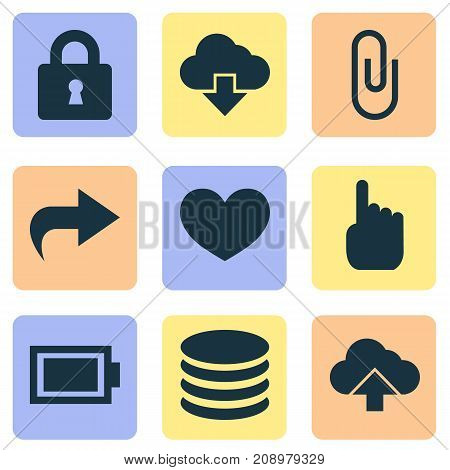 User Icons Set. Collection Of Cursor, Forward, Load And Other Elements