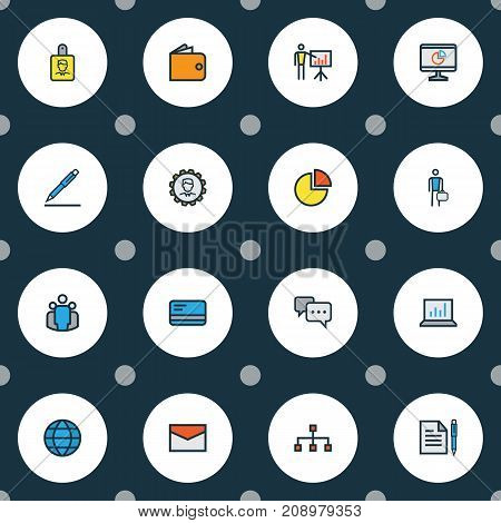 Trade Colorful Outline Icons Set. Collection Of Worker, Message, Network And Other Elements
