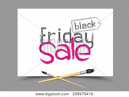 Drawing black friday sale logo on white paper. Education school discount sticker symbol