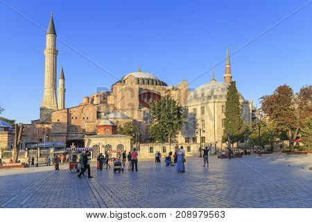 ISTANBUL, TURKEY - SEPTEMBER 13, 2017: Hagia Sophia is a world-famous monument of Byzantine architecture a symbol of the