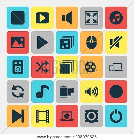 Music Icons Set. Collection Of Pause, Filmstrip, Silence And Other Elements