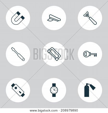 Equipment Icons Set. Collection Of Turn Screw, Password, Harrow And Other Elements