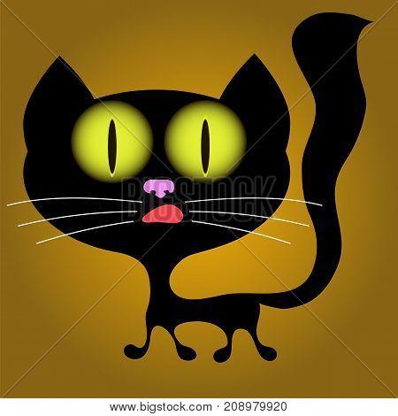 Halloween Black Cat with Big Yellow Eyes on Orange Background
