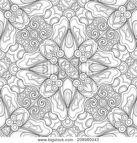 Monochrome Seamless Pattern With Mosaic Floral Motifs
