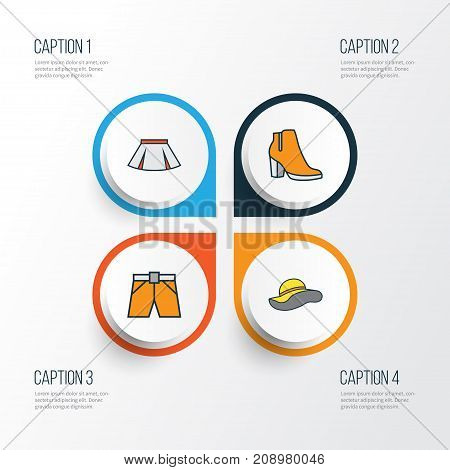 Garment Colorful Outline Icons Set. Collection Of Female Boots, Elegant Headgear, Skirt And Other Elements