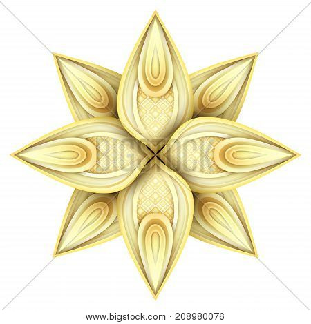 Gold Beautiful Decorative Ornate Mandala. Floral Ethnic Arabic Amulet. Art Deco Asian Style Design Element. Realistic Glossy Ornament. Vector 3d Illustration. Ornamental Abstraction