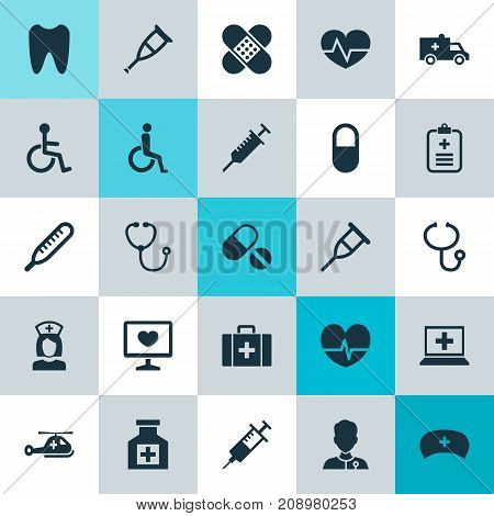 Medicine Icons Set. Collection Of Database, Stand, Peck Elements