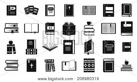 Books icon set. Simple set of books vector icons for web design isolated on white background