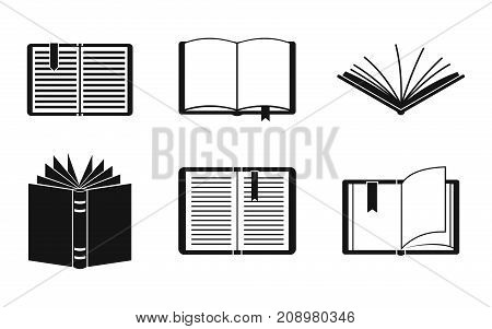 Open book icon set. Simple set of open book vector icons for web design isolated on white background