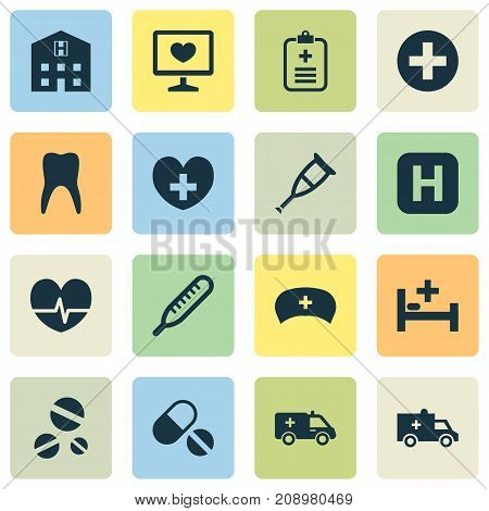 Drug Icons Set. Collection Of Cure, First-Aid, Plus And Other Elements