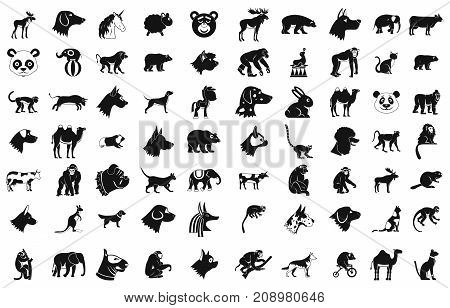 Animals icon set. Simple set of animals vector icons for web design isolated on white background