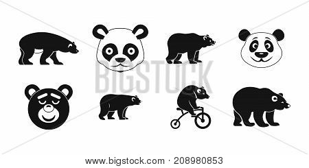Bear icon set. Simple set of bear vector icons for web design isolated on white background