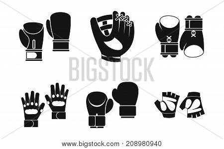 Sport gloves icon set. Simple set of sport gloves vector icons for web design isolated on white background