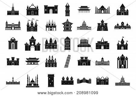 Castle icon set. Simple set of castle vector icons for web design isolated on white background