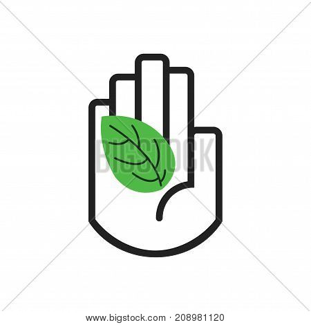 Isolated black line hand symbol holding green leaf sign icon on white background