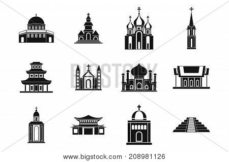 Temple icon set. Simple set of temple vector icons for web design isolated on white background
