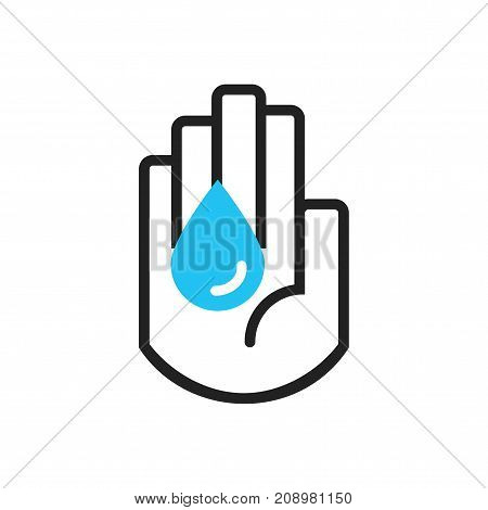 Isolated black line hand symbol holding blue water drop sign icon on white background