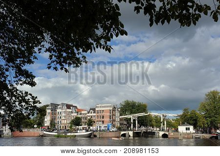 The Magere Brug (Skinny Bridge) in Amsterdam, Netherlands