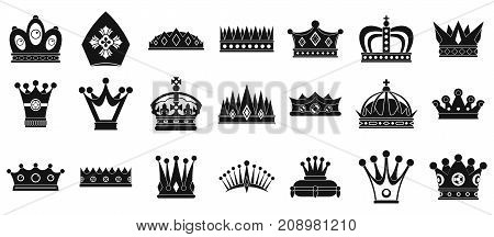 Crown icon set. Simple set of crown vector icons for web design isolated on white background