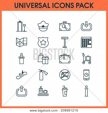Traveling Icons Set. Collection Of Pilot Hat, Briefcase Scanner, Suitcase And Other Elements