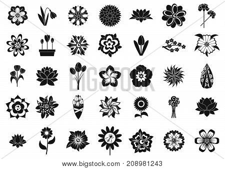 Flower icon set. Simple set of flower vector icons for web design isolated on white background