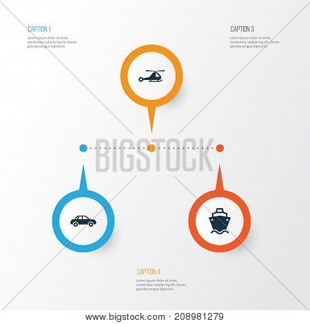 Transportation Icons Set. Collection Of Automobile, Tanker, Chopper And Other Elements