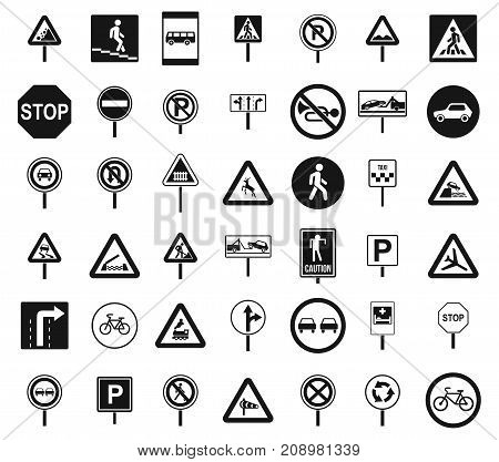 Road sings icon set. Simple set of road sings vector icons for web design isolated on white background