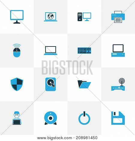 Hardware Colorful Icons Set. Collection Of Laptop, Print, PC And Other Elements