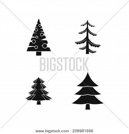 Fir tree icon set. Simple set of fir tree vector icons for web design isolated on white background