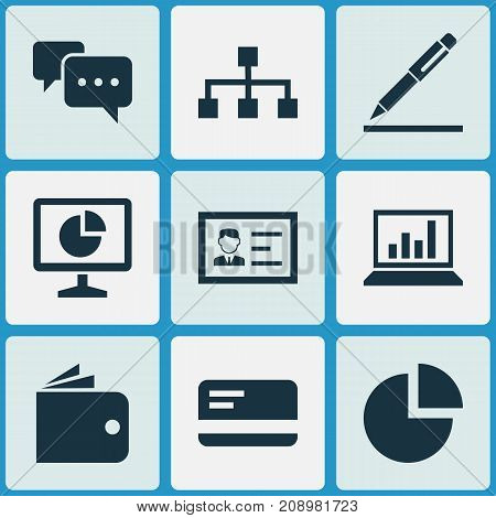 Business Icons Set. Collection Of Billfold, Statistics, Hierarchy And Other Elements