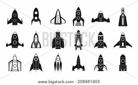 Rocket icon set. Simple set of rocket vector icons for web design isolated on white background