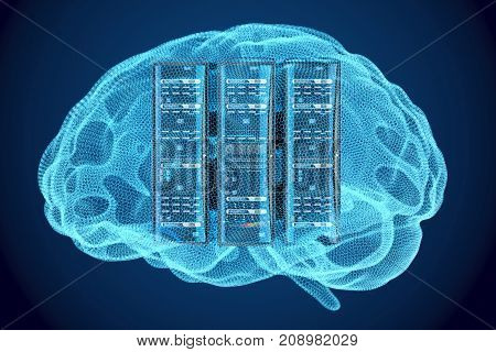 Artificial intelligence concept Computer server racks inside brain 3D rendering