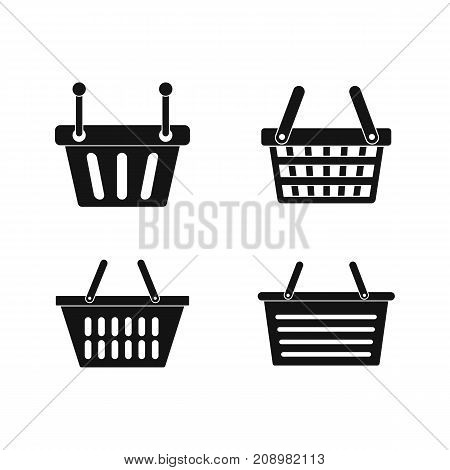 Shopping basket icon set. Simple set of shopping basket vector icons for web design isolated on white background