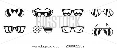 Sun glasses icon set. Simple set of sun glasses vector icons for web design isolated on white background