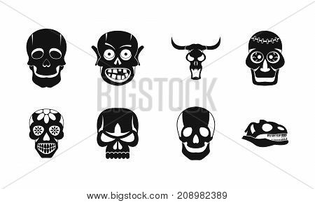 Skull icon set. Simple set of skull vector icons for web design isolated on white background