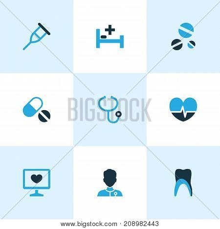 Drug Colorful Icons Set. Collection Of Tablets, Crutch, Medical Data And Other Elements