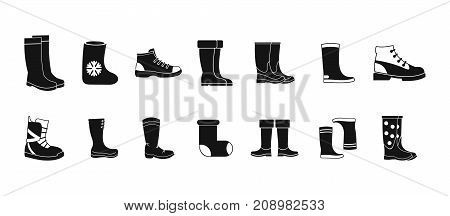 Boots icon set. Simple set of boots vector icons for web design isolated on white background