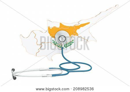 Cyprus map with stethoscope national health care concept 3D rendering
