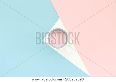 Minimal geometric background with strawberry milk shake in a white cup abstract light blue and pink color surge