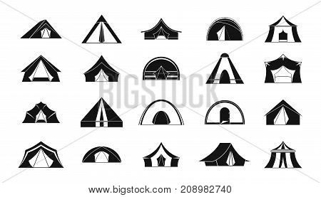 Tent icon set. Simple set of tent vector icons for web design isolated on white background