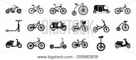 Bike icon set. Simple set of bike vector icons for web design isolated on white background