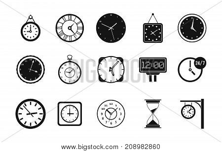 Wall clock icon set. Simple set of wall clock vector icons for web design isolated on white background