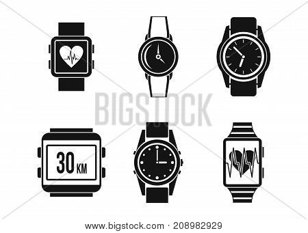 Smartwatch icon set. Simple set of smartwatch vector icons for web design isolated on white background