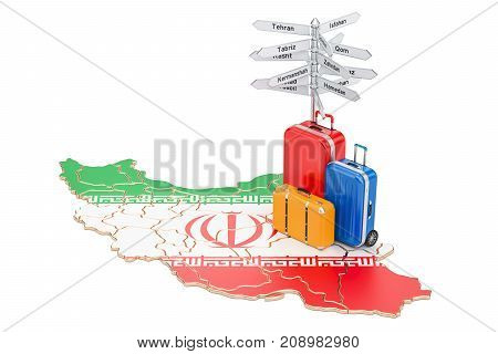Iran travel concept. Iranian flag on map with suitcases and signpost 3D rendering