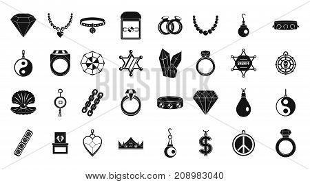 Jewelry icon set. Simple set of jewelry vector icons for web design isolated on white background